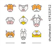 Front View Animal Heads. Anima...
