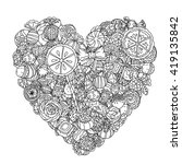 heart shape of sweets and... | Shutterstock .eps vector #419135842