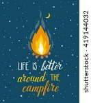 vector poster with campfire ... | Shutterstock .eps vector #419144032