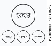 programmer coder glasses icon.... | Shutterstock .eps vector #419148046