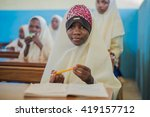 editorial use  muslim girls at... | Shutterstock . vector #419157712