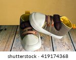 baby shoes place on wooden... | Shutterstock . vector #419174368