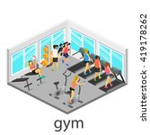 isometric interior of gym.... | Shutterstock .eps vector #419178262