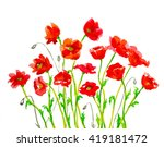 Hand Painted Watercolor Red...