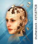 Stock photo three dimensional puzzle creating a female head d illustration 419187928