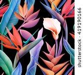 seamless tropical flower  plant ... | Shutterstock . vector #419190166