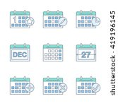 calendar thin line icons set.... | Shutterstock .eps vector #419196145