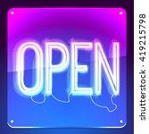 open. neon signboard. word on... | Shutterstock .eps vector #419215798