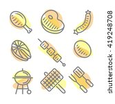 fish and meat bbq food grilled ... | Shutterstock .eps vector #419248708