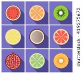 fruit flat  icons with  shadow | Shutterstock .eps vector #419275672