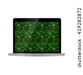 glossy laptop with green matrix ...
