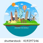 world travel. planning summer... | Shutterstock .eps vector #419297146