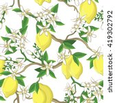 Floral Pattern With Lemons And...