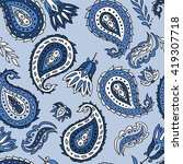 seamless pattern with paisley... | Shutterstock .eps vector #419307718