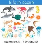 Set Of Cartoon Sea Animals Fis...