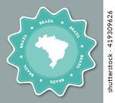 brazil map sticker in trendy...   Shutterstock .eps vector #419309626