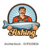 Fishing Vector Logo. Fisherman...