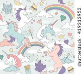 cute seamless pattern with... | Shutterstock .eps vector #419313952