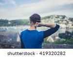 a young woman is admiring the... | Shutterstock . vector #419320282