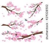 set of realistic sakura japan... | Shutterstock .eps vector #419328502