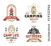 Set Of Retro Camping Outdoor...