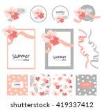 romantic flower collection set... | Shutterstock .eps vector #419337412