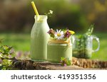 green smoothie with edible wild ... | Shutterstock . vector #419351356