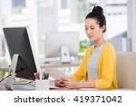 a businesswoman is working in... | Shutterstock . vector #419371042