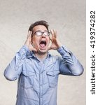 portrait of a shocked ... | Shutterstock . vector #419374282