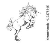 unicorn rearing | Shutterstock . vector #419375845