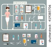set of flat medicine icons.... | Shutterstock .eps vector #419385706