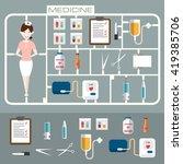 set of flat medicine icons.... | Shutterstock .eps vector #419385706
