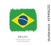 brazilian flag made in brush... | Shutterstock .eps vector #419406232