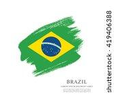brazilian flag made in brush... | Shutterstock .eps vector #419406388