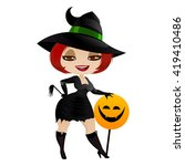 witch isolated on white... | Shutterstock .eps vector #419410486