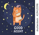 good night card with a cute... | Shutterstock .eps vector #419415598
