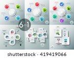 set of 6 modern infographics... | Shutterstock .eps vector #419419066