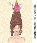 vector rococo styled girl with...   Shutterstock .eps vector #419421886