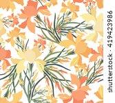 seamless pattern with iris... | Shutterstock .eps vector #419423986