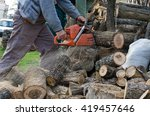 Lumberjack Working With His...