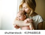 newborn baby in a tender... | Shutterstock . vector #419468818