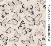 seamless vintage pattern with... | Shutterstock .eps vector #419472442