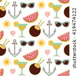 summer pattern with sunglasse... | Shutterstock .eps vector #419474122