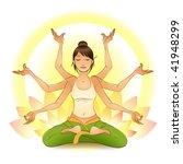 girl meditating in a lotus pose | Shutterstock .eps vector #41948299