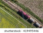 aerial view of the train on the ...   Shutterstock . vector #419495446