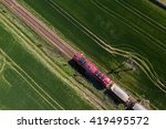 aerial view of the train on the ... | Shutterstock . vector #419495572