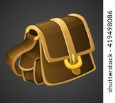 cartoon old leather bag icon...
