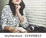 woman thinking dreaming... | Shutterstock . vector #419498815