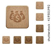 set of carved wooden money bags ...