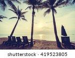 beautiful coconut palm tree on... | Shutterstock . vector #419523805